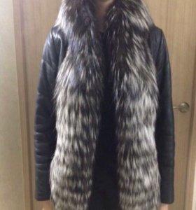 Кожаная куртка с мехом чернобурки Sagitta