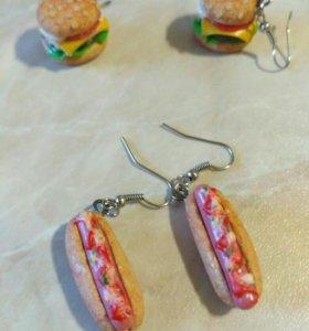 Серьги из полимерной глины (гамбургеры и хот-доги)