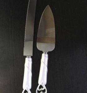 Нож и лопатка. Набор для свадебного торта