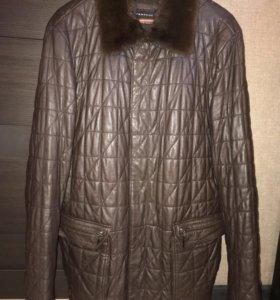 Кожаная куртка с норковым воротником