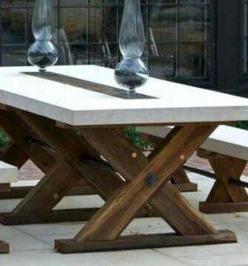 Стол со скамейками из дерева