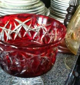 Две конфетницы хрусталь рубин
