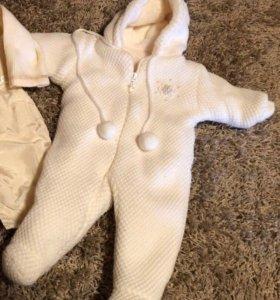 Тёплый вязанный комбинезон, до 9 месяцев