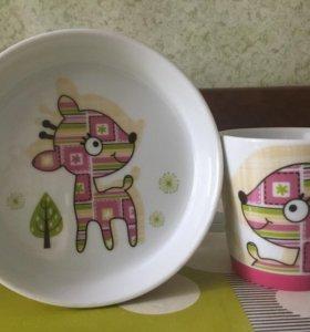 Детский набор посуды с антискользящим дном