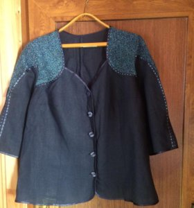 Льняное платье с пиджаком 60 размер