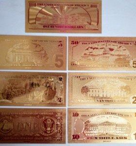 Коллекционные доллары из золотой фольги