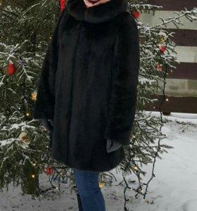 Шуба норковая с капюшоном размер 46-50