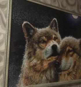 Волки. Картина стразами