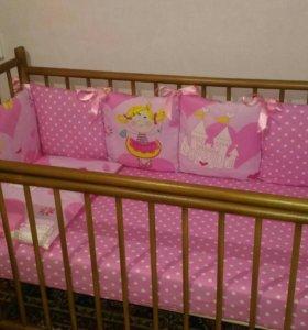 Гнездо+бортики подушки в кроватку