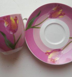 Весенний набор чашки+блюдца (6шт)