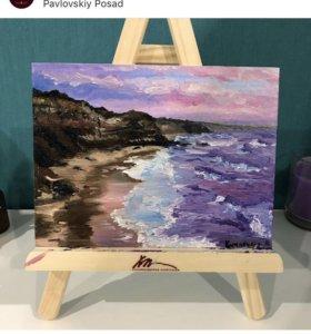 Картина маслом «Розовое море»