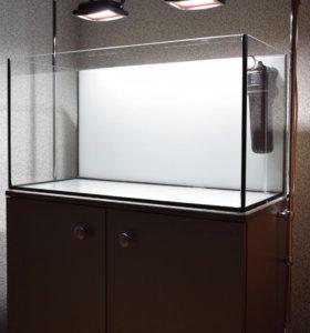 Аквариум 100л (Тумба, освещение, фильтр, грунт)