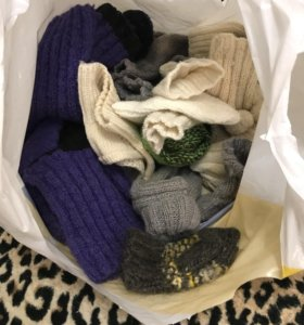 Вязанные носки, шерсть, нитки
