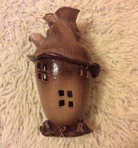 Подсвечник домик керамический