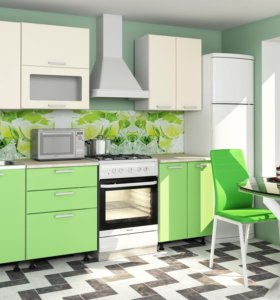 Кухня Модерн 1,7 МДФ (Светло-зеленая/Ваниль)