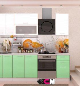 Кухня 1,8 Ксения МДФ белый/олива