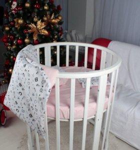 Круглая/овальная кроватка 7в1 белая