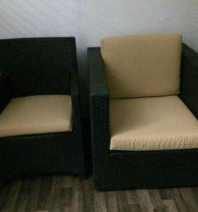 Кресло из ротанга Flamant с металлисеским каркасом