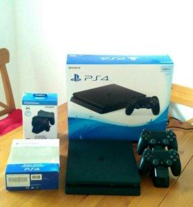 Sony PS4 slim 500 gb, 2 dualshock 4  + игры