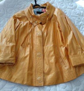 Желтая натуральная кожаная куртка 44-48