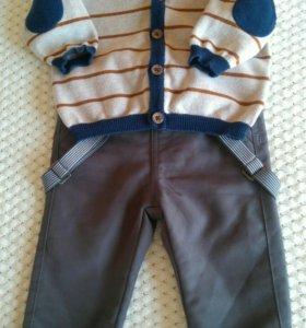 Кардиган+брюки, размер 2-6 мес