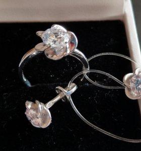 Серьги + кольцо серебро 925