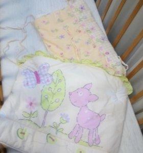 Кроватка с матрацем и бортами