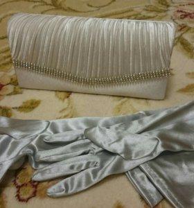 Клатч атласный светло серый + перчатки новые