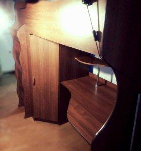 Кровать-стол-шкаф детская двухъярусная