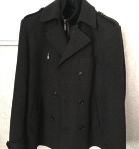 Пальто темно-серое шерсть 52/XL