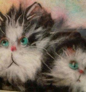 Шерстяная картина Кошка и котенок