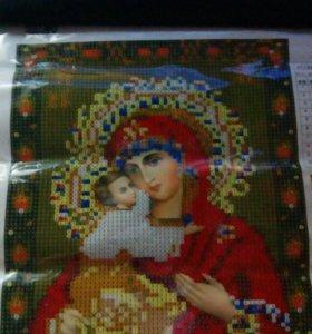 Алмазная вышивка. Икона дева с младенцем