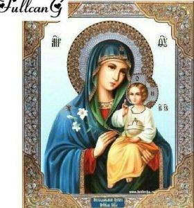 Алмазная вышивка.Икона дева Мария с Исусом Христом