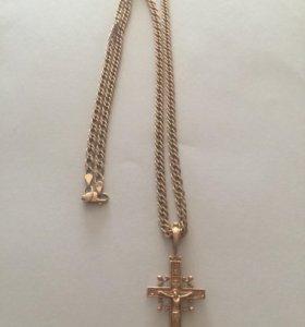 Золотая цепь с крестом