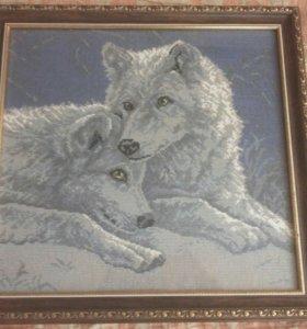 """Картина """"Волки"""", вышитая крестиком"""