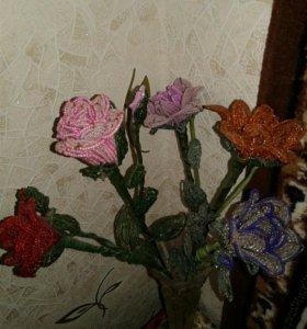 Букет роз из бисера ручная работа