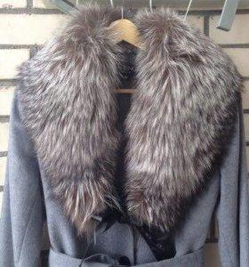 Пальто кашемировое, воротник чернобурка