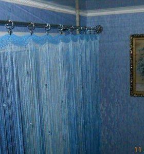 Шторы нитяные синие