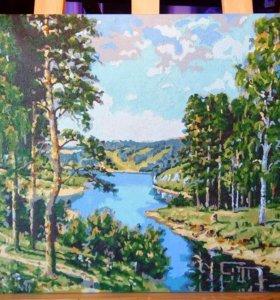 """Картина маслом """"Лето в лесу"""""""