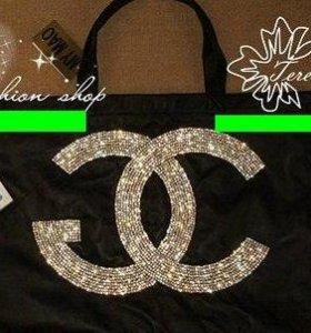 Chanel черная сумка с блестками