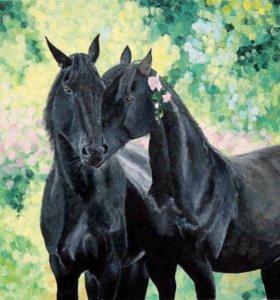 """Картина """"Черные лошади"""""""