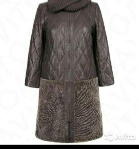Пальто кожа + овчина 46 размер