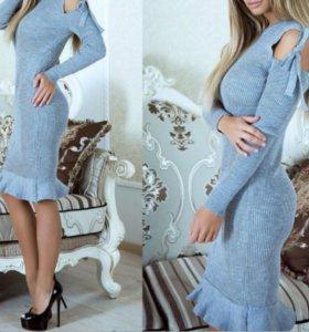 Платье-лапша. миди. с рюшами