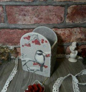 Карандашница декупаж подарок фотосессия интерьер