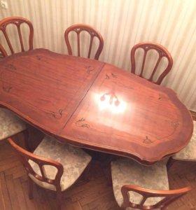 Банкетный стол + 8 мягких стульев. (Дерево)