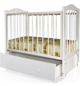 Кроватка детская с ящиком+ МАТРАС