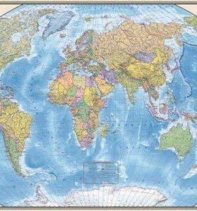 Карта Мира ( новая ) 150см. х 240см