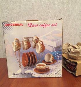 Набор кофейный на подставке ( новый )