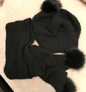 Комплект шапка и длинный шарф