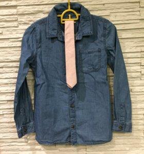 Джинсовая рубашка и галстук 9-10 лет